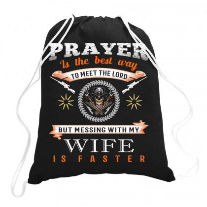 Gun T Shirt Design, Prayer Is The Best Way To Meet The Load Drawstring Bags Designed By #t-shirt Designer Safiul Islam