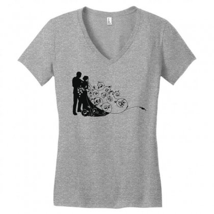 Bride And Groom Women's V-neck T-shirt Designed By Nona Harf
