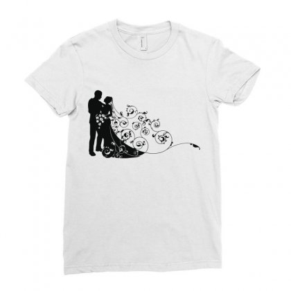 Bride And Groom Ladies Fitted T-shirt Designed By Nona Harf