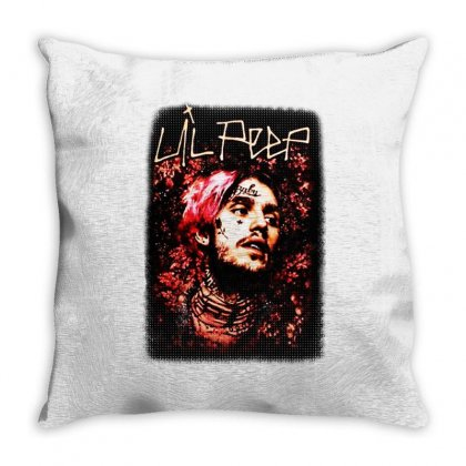 Lil Peep Floral Portrait Throw Pillow Designed By Joe Art