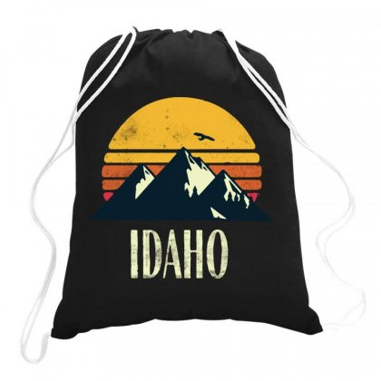 Idaho Retro Vintage Drawstring Bags Designed By Joe Art