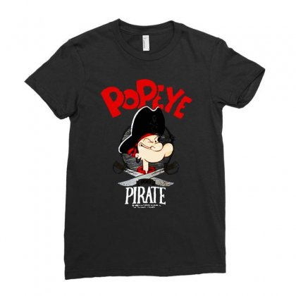 Popeye Goes Pirate Ladies Fitted T-shirt Designed By Joe Art