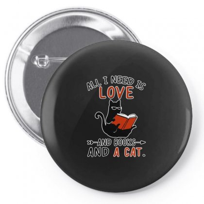 All I Need I Love And Books And A Cat Reading Cat Pin-back Button Designed By Suettan