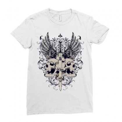 Sword And Skull Ladies Fitted T-shirt Designed By Salmanaz