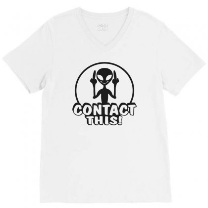 Alien Contact This Finger Ufo V-neck Tee Designed By Bon T-shirt