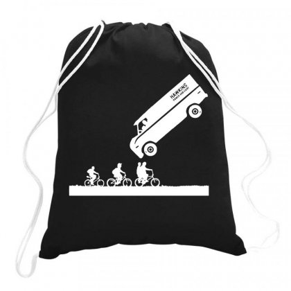 Stranger Things Van Funny Drawstring Bags Designed By Joo Joo Designs