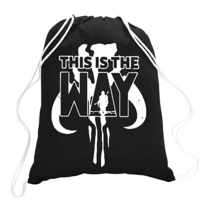This Is The Way B Mandalorian On White Art Drawstring Bags Designed By Joo Joo Designs