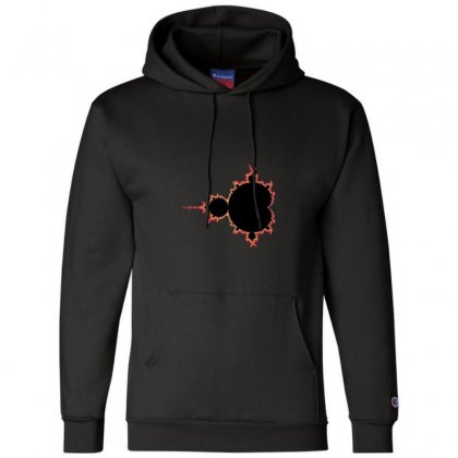 Mandelbrot Fractal Red And Black Champion Hoodie Designed By Zykkwolf