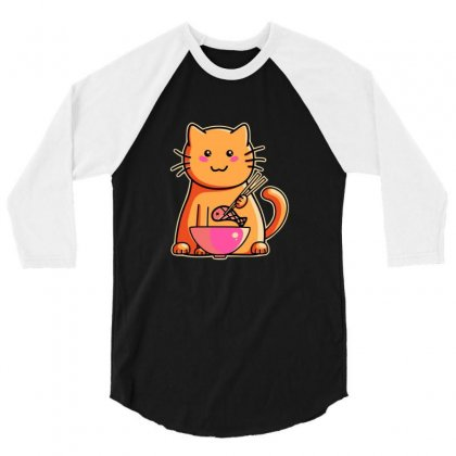 Cute Cat Eating Fish With Chopsticks 3/4 Sleeve Shirt Designed By Sr88