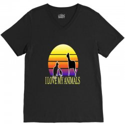 animals cat and dog V-Neck Tee | Artistshot
