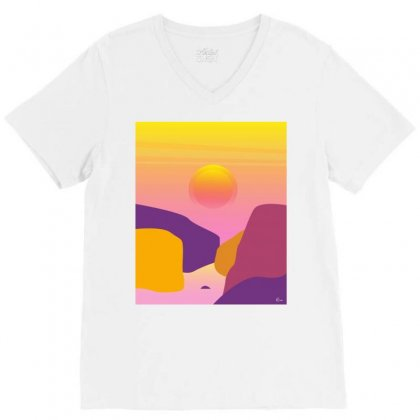 Sunset V-neck Tee Designed By Hottees_by_ria