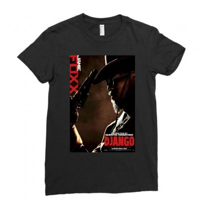 Django Unchained Jamie Foxx Movie Poster Ladies Fitted T-shirt Designed By Ronandi