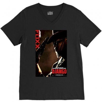 Django Unchained Jamie Foxx Movie Poster V-neck Tee Designed By Ronandi