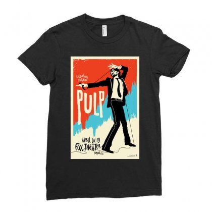 Pulp Poster Jarvis Cocker Blur Britpop Ladies Fitted T-shirt Designed By Ronandi