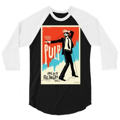 Pulp Poster Jarvis Cocker Blur Britpop 3/4 Sleeve Shirt Designed By Ronandi