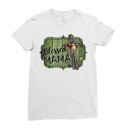 Blessed Mama Ladies Fitted T-shirt Designed By Badaudesign