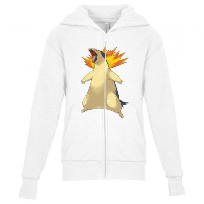 Cyndaquil Youth Zipper Hoodie Designed By Acoy