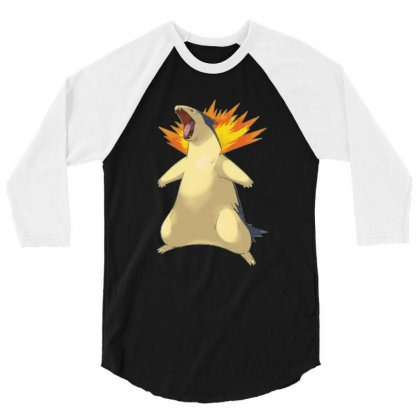 Cyndaquil 3/4 Sleeve Shirt Designed By Acoy