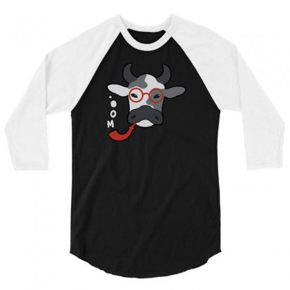 Urban Hipster Moo Cow Smoking A Pipe Shirt For Fans Of Oxen 3/4 Sleeve Shirt Designed By Desi