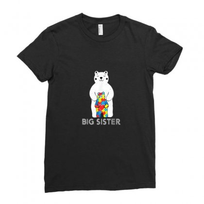 Big Sister Bear Autism Ladies Fitted T-shirt Designed By Asatya