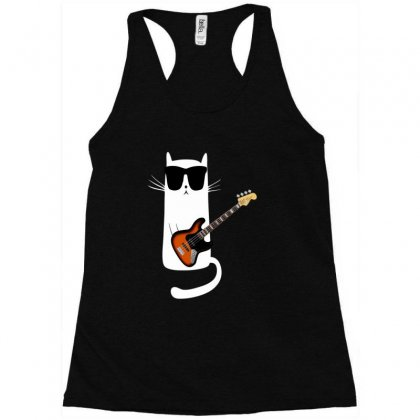 Funny Cat Wearing Sunglasses Playing Bass Guitar Racerback Tank Designed By Mrt90