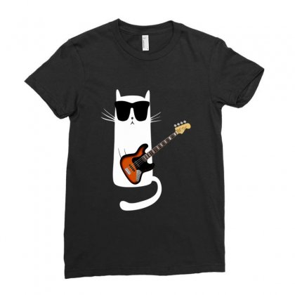 Funny Cat Wearing Sunglasses Playing Bass Guitar Ladies Fitted T-shirt Designed By Mrt90