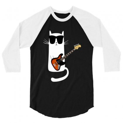 Funny Cat Wearing Sunglasses Playing Bass Guitar 3/4 Sleeve Shirt Designed By Mrt90
