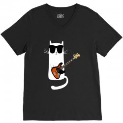 Funny Cat Wearing Sunglasses Playing Bass Guitar V-Neck Tee | Artistshot
