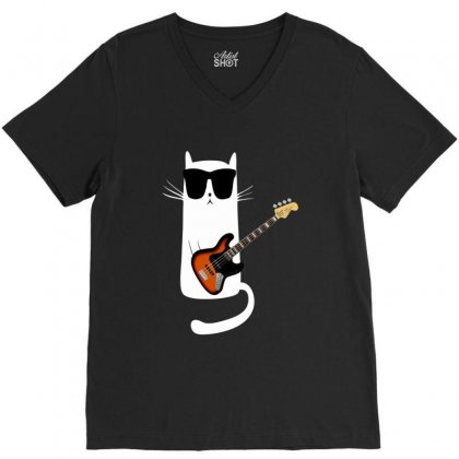 Funny Cat Wearing Sunglasses Playing Bass Guitar V-neck Tee Designed By Mrt90