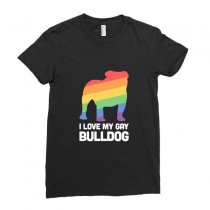 Bulldog Funny Gay Dog Lgbt Pride Ladies Fitted T-shirt Designed By Sr88