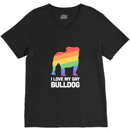 Bulldog Funny Gay Dog Lgbt Pride V-neck Tee Designed By Sr88