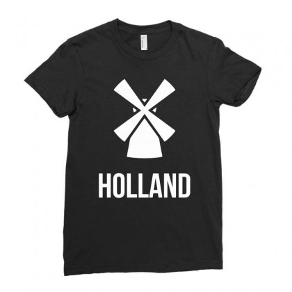 Holland Windmolen Ladies Fitted T-shirt Designed By Dinugraha