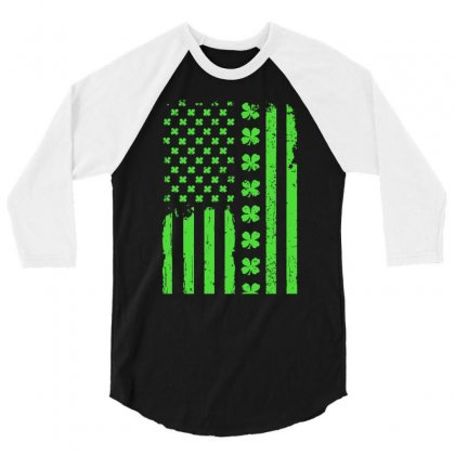American Flag St. Patrick's Day Gift 3/4 Sleeve Shirt Designed By Hoainv
