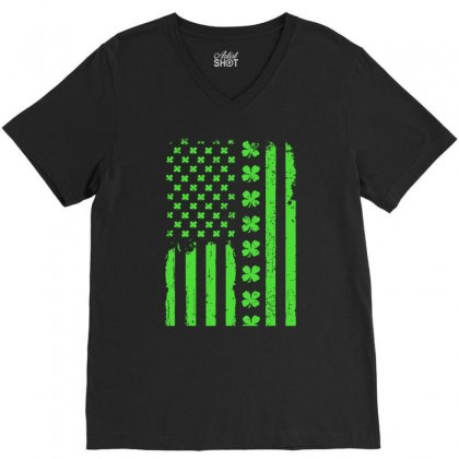 American Flag St. Patrick's Day Gift V-neck Tee Designed By Hoainv