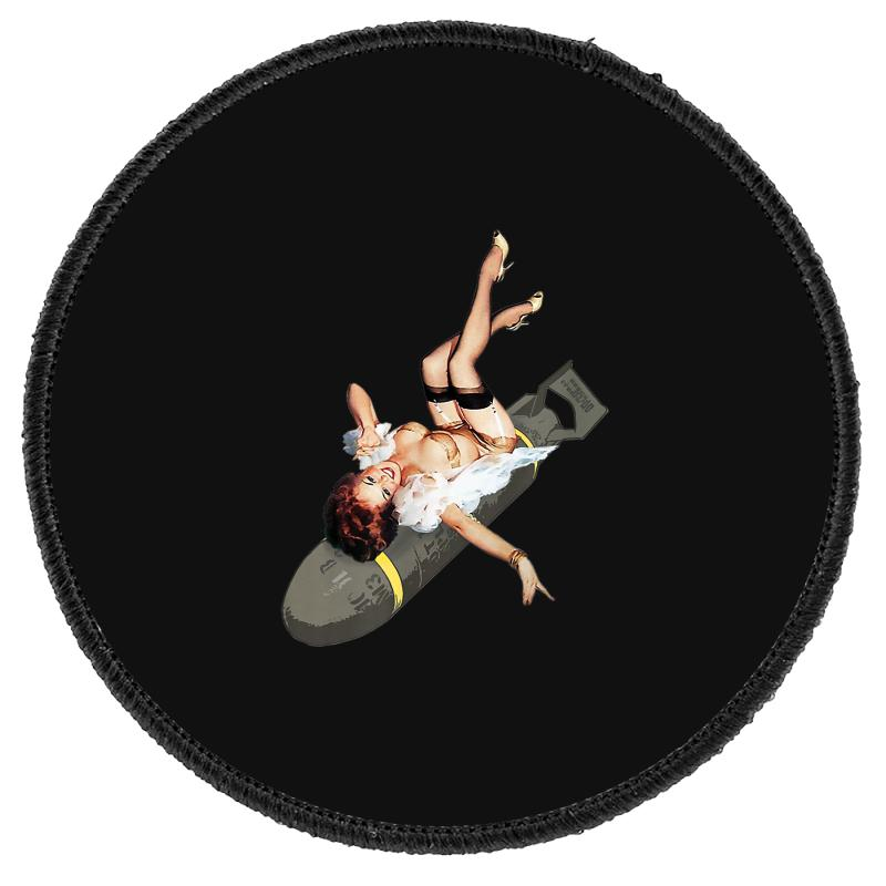 Pin Up Girl Bombs Away Wwii Poster Vintage Round Patch   Artistshot