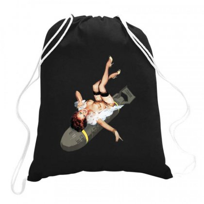 Pin Up Girl Bombs Away Wwii Poster Vintage Drawstring Bags Designed By Mrt90
