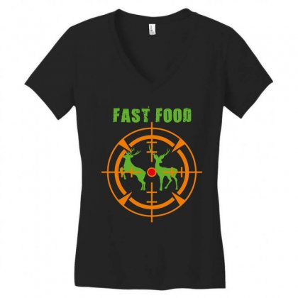 Fast Food Women's V-neck T-shirt Designed By Wizarts