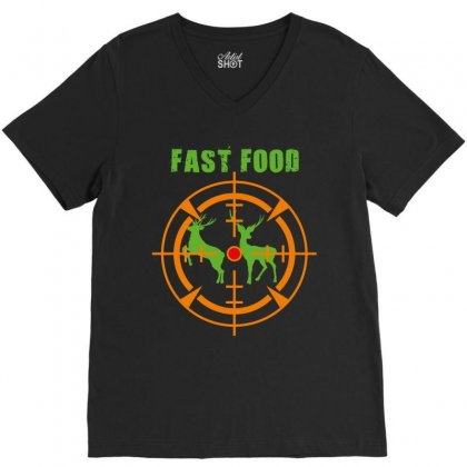 Fast Food V-neck Tee Designed By Wizarts