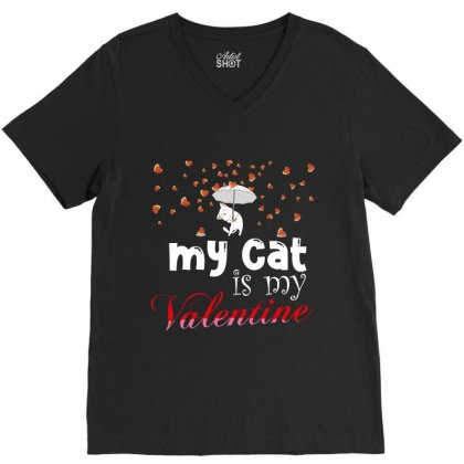 My Cat Is My Valentine V-neck Tee Designed By Wizarts
