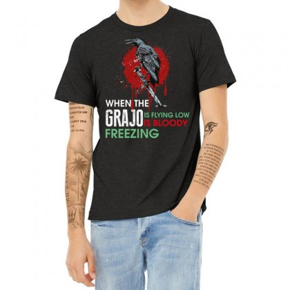 When The Grajo Is Flying Low Is Bloody Freezing Heather T-shirt Designed By Wizarts