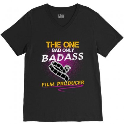 The One Day Only Badass Film Producer V-neck Tee Designed By Wizarts