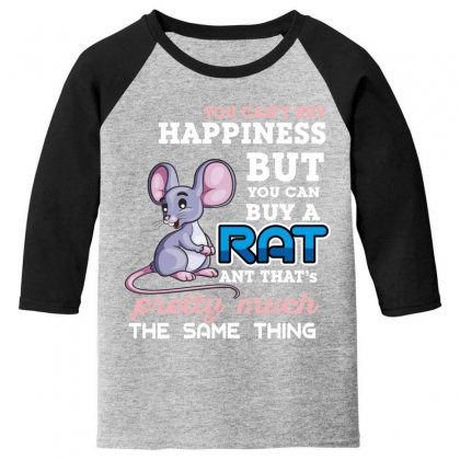 You Can't Buy Happiness But You Can Buy A Rat Youth 3/4 Sleeve Designed By Wizarts