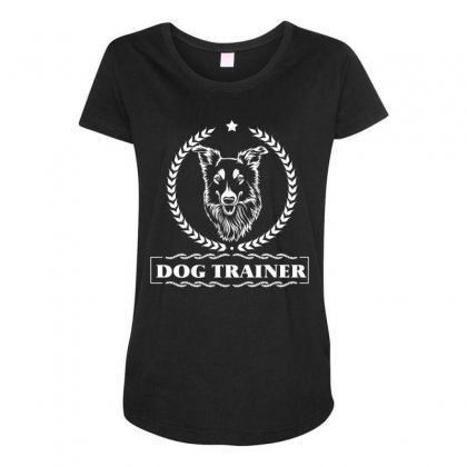 Dog Trainer Maternity Scoop Neck T-shirt Designed By Wizarts