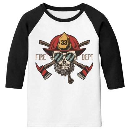 Fire Dept. 1 Youth 3/4 Sleeve Designed By Wizarts