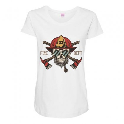 Fire Dept. 1 Maternity Scoop Neck T-shirt Designed By Wizarts