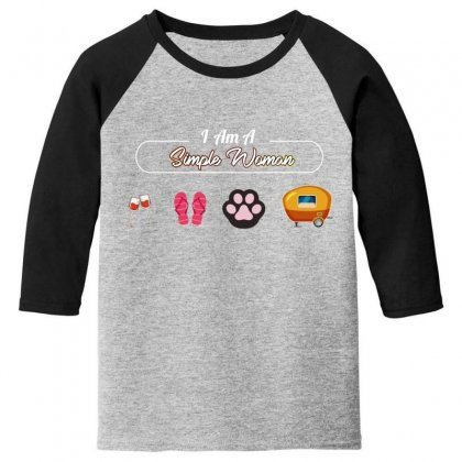 I Am A Simple Woman Youth 3/4 Sleeve Designed By Wizarts