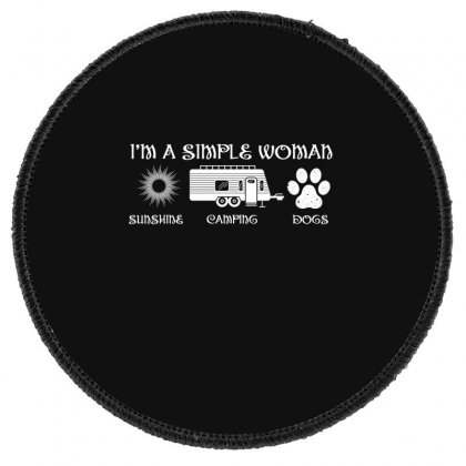 I'm A Simple Woman Sunshine Camping Dogs Round Patch Designed By Wizarts