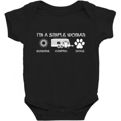 I'm A Simple Woman Sunshine Camping Dogs Baby Bodysuit Designed By Wizarts