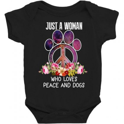 Just A Woman Who Loves Peace And Dogs Baby Bodysuit Designed By Wizarts