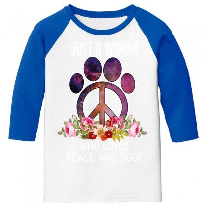 Just A Woman Who Loves Peace And Dogs Youth 3/4 Sleeve Designed By Wizarts